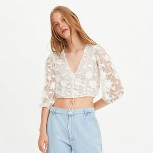 Zara NEW embroidered tulle top